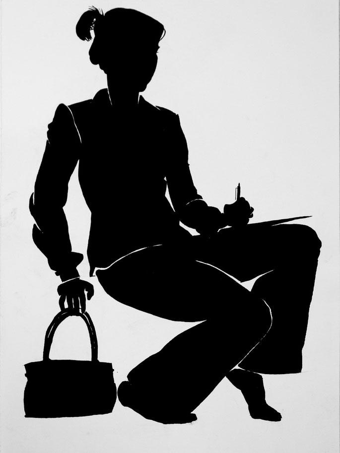 malen lernen silhouette selbstbildnis