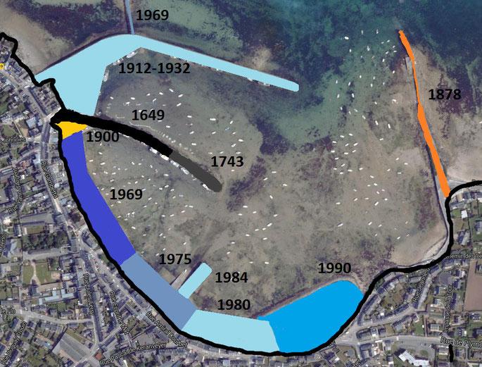 Carte schématique des évolutions du port de Roscoff , et des différents comblements en noir le trait de côte du XVIIème siècle