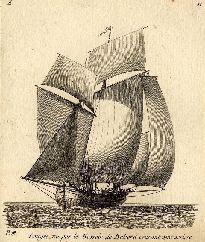 Lougre, voiles en ciseau la bonnette de chute de grand-voile est particulièrement remarquable  Gravure de Pierre Ozanne
