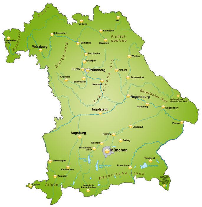 Bayern-Karte; Detektei Bayern, Detektiv Bayern, Privatdetektiv Bayern, Wirtschaftsdetektei Bayern
