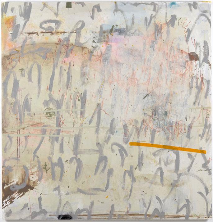 "Untitled Script w/ Orange Bar, Acrylic & drawing media on panel, 53""x 51"", 2019. Available"
