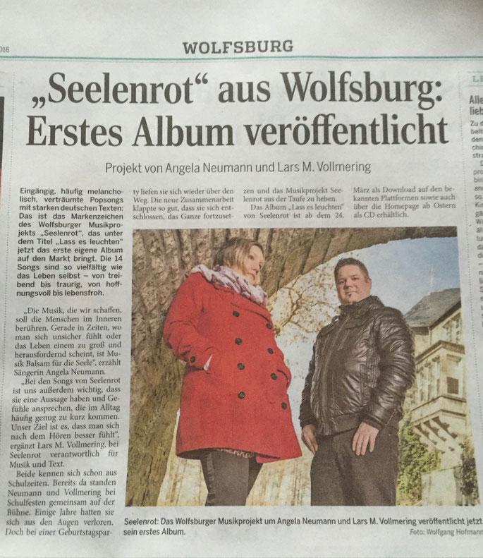 Seelenrot Album Release Verkaufsstart Presse Zeitung Wolfsburger Allgemeine deutsche Popsongs melancholische Balladen