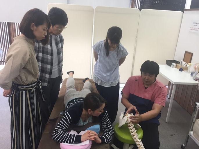 骨模型で説明する中田院長