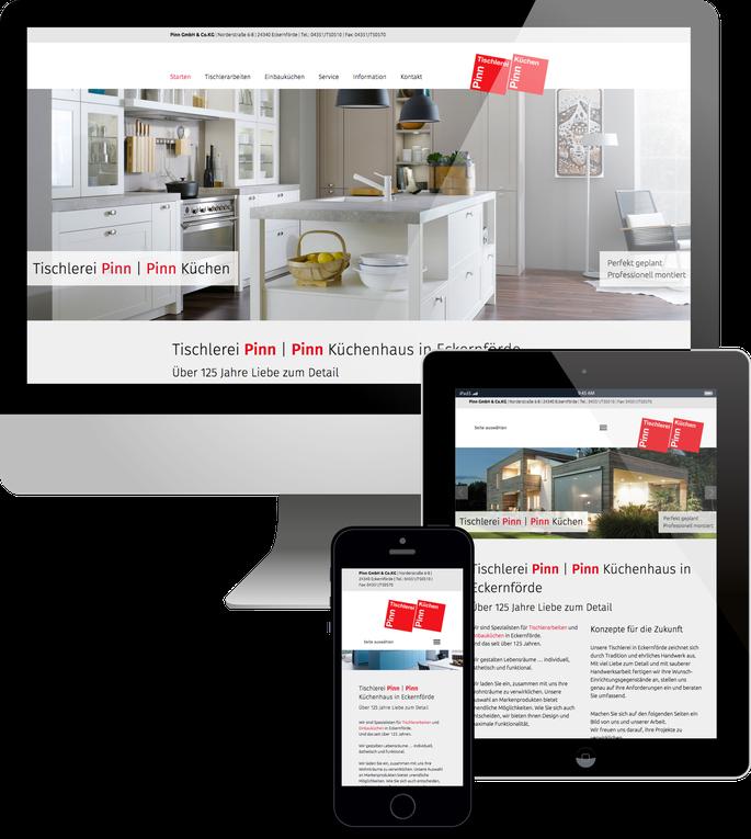 Jimdo responsive Web Design Küchenstudio und Tischlerei Pinn in Eckernförde