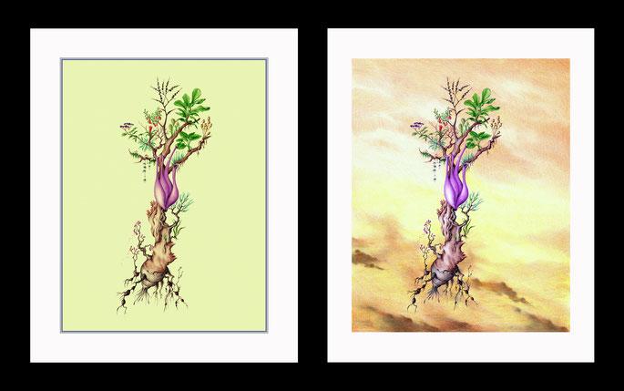 dibujos a lapiz, dibujos a bolígrafo, arte fantastico, dibujos surrealistas, dibujo fantastico, paisajes fantasticos, dibujantes españoles, dibujos de plantas