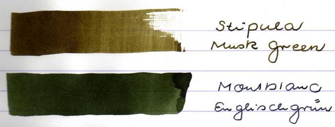 Tintenausstrich mit der Englischgrün zum Vergleich. Deutliche Unterschiede