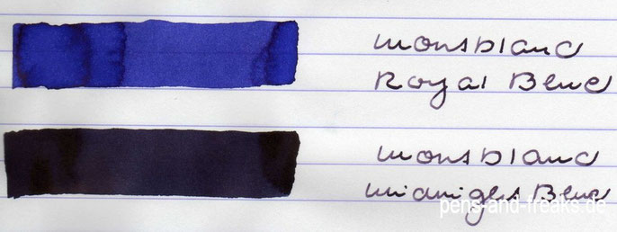Papierausstrich MB Royal Blue und Midnight Blue