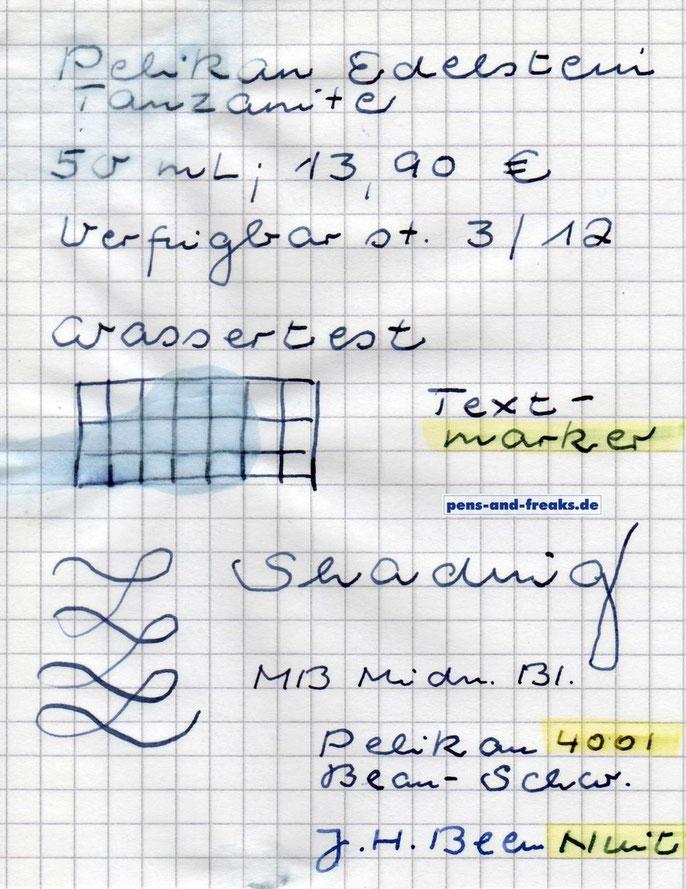 Wassertest und Textmarker
