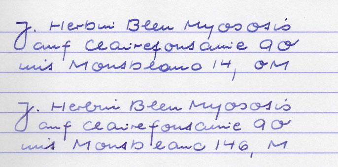 Das ist es: So schreibt eine klassische OM-Feder mit einem Hartgummi-Tintenleiter. Moderner M-Feder-146 zum Vergleich