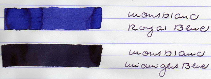 Die beiden blauen Montblanc-Tinten im Vergleich