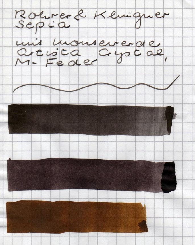 Tintenausstriche: (1) R+K Sepia; (2) J. Herbin Cacao du Brésil; (3) J. Herbin Lie de Thé