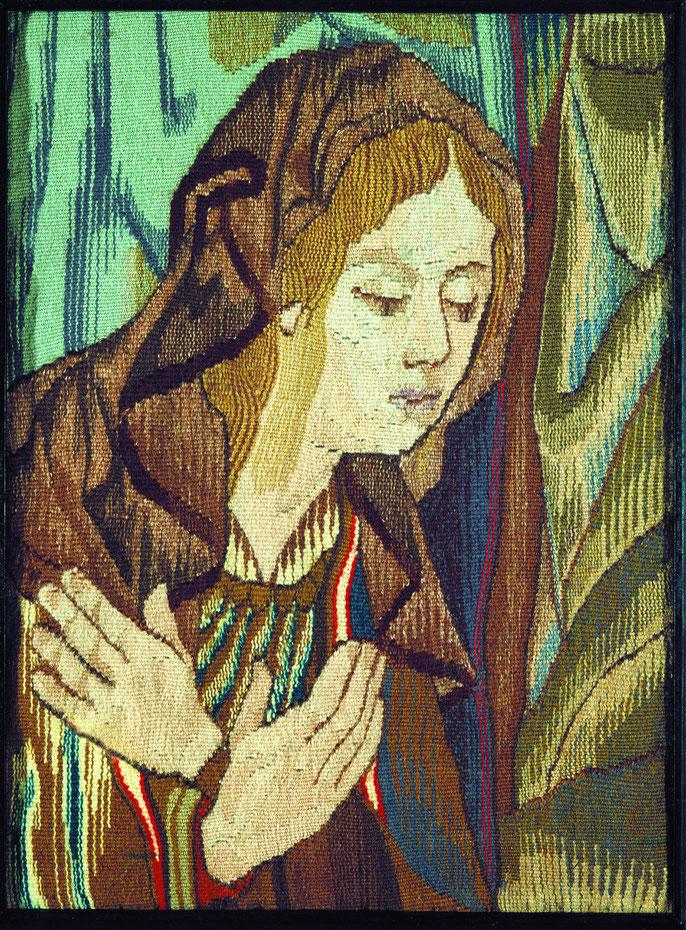 Парафраз. шерсть, лен, руч. ткач. 63х55 см. 1983 г.