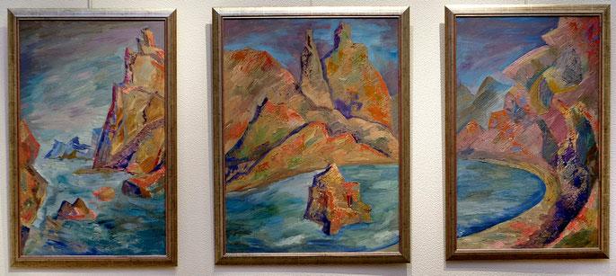 В лучах заката, триптих, х.м. 70х50, 70х60, 70х50 см.