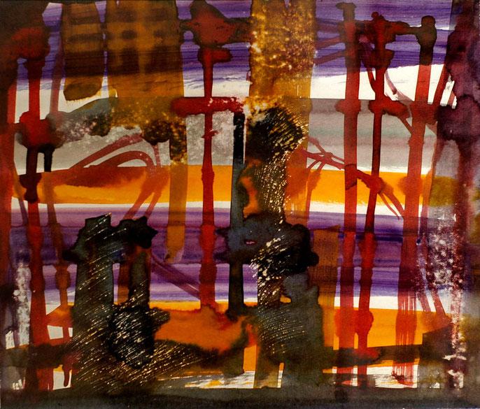 Лирическая абстракция, бум., акв., 50х60 см.
