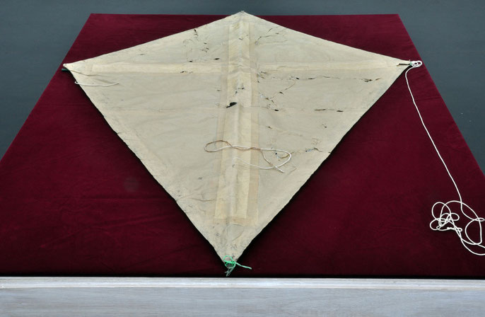 Kite, 1995: paper, string, bamboo, acrylic, tape, cloth; 90x120cm