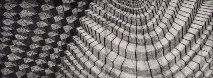 Show Me the Place #2, 2015: charcoal & pastel on paper, 56x152cm (2 panels)