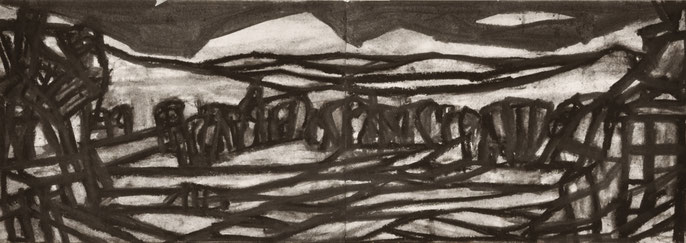 The passing #3 -10, 2014: charcoal & pastel on paper, 21x59cm