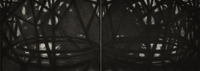 Down River Dark II- 3, 2010: charcoal & pastel on paper; 2 parts, total 56x152cm (series of 8)