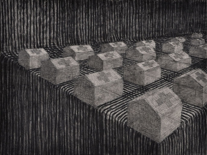 Tents and landscape, 2016 -V: charcoal & pastel on paper, 56x76cm