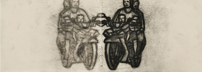 Kuang Road Prayer II-2, 2010: charcoal & pastel on paper; 15x42cm (series of 4)