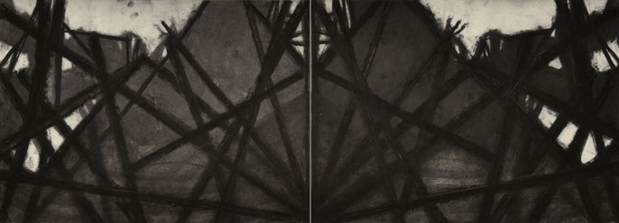 Down River Dark II- 5, 2010: charcoal & pastel on paper; 2 parts, total 56x152cm (series of 8)