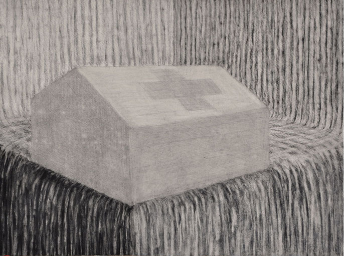 Tent and landscape, 2016 -II: charcoal & pastel on paper, 56x76cm