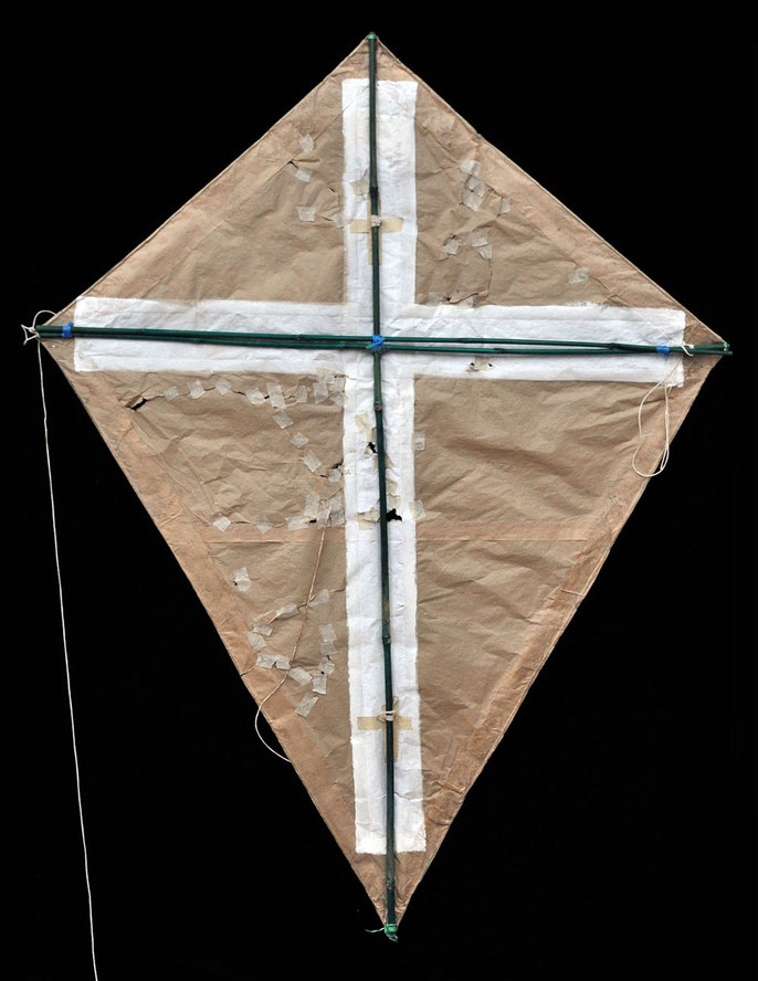 back:  Kite, 1995: paper, string, bamboo, acrylic, tape, cloth; 90x120cm