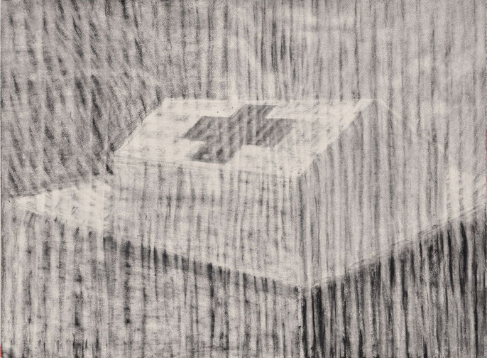 Tent and landscape, 2016 -III: charcoal & pastel on paper, 56x76cm