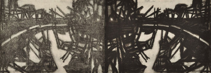Down River Dark I-2, 2010: charcoal & pastel on paper, 21x59cm (series of 50)