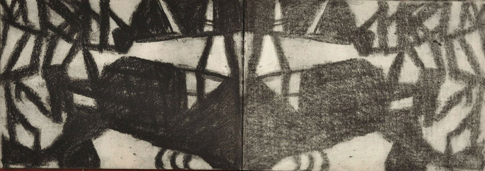 Down River Dark I-4, 2010: charcoal & pastel on paper, 21x59cm (series of 50)