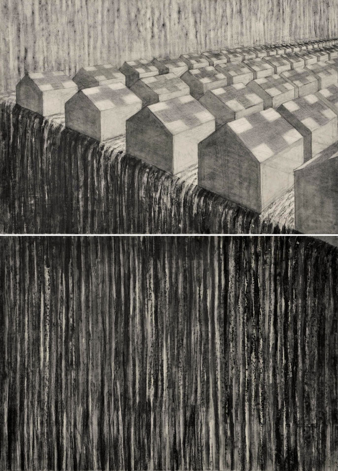 Tents and Landscape, 2016-2020; charcoal & pastel on paper, 152x112cm (2 panels)