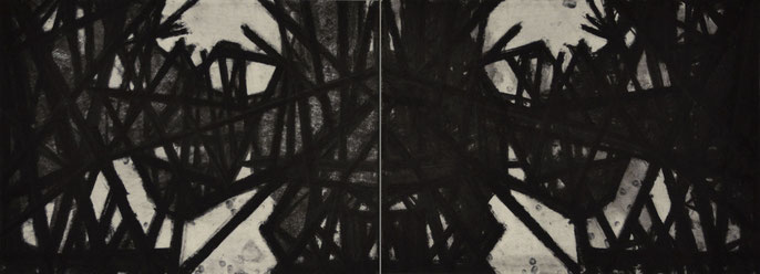 Down River Dark II- 1, 2010: charcoal & pastel on paper; 2 parts, total 56x152cm (series of 8)