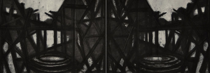 Down River Dark II- 2, 2010: charcoal & pastel on paper; 2 parts, total 56x152cm (series of 8)