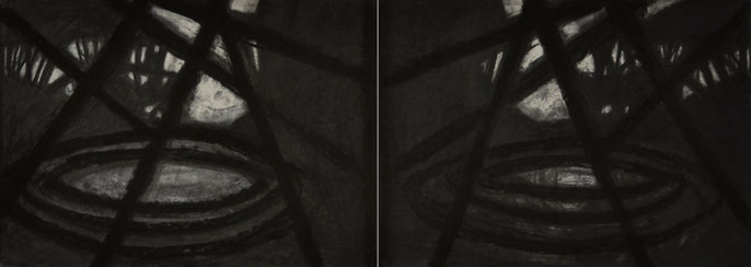Down River Dark II- 6, 2010: charcoal & pastel on paper; 2 parts, total 56x152cm (series of 8)
