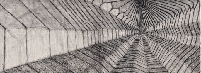 Show Me the Place #1, 2015: charcoal & pastel on paper, 56x152cm (2 panels)