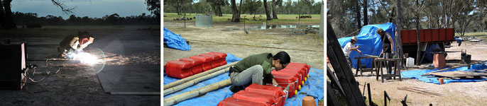 Roger Soong heading inland up the Wimmera  River / with Frank Tagliabue  begining raft build, Quantong, Victoria, Oct 2013