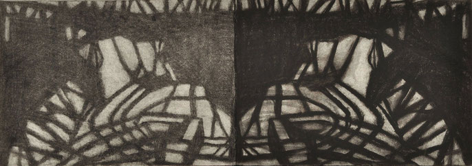 Down River Dark I-5, 2010: charcoal & pastel on paper, 21x59cm (series of 50)