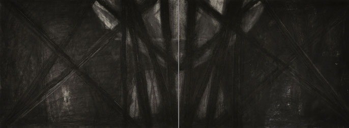 Down River Dark II- 4, 2010: charcoal & pastel on paper; 2 parts, total 56x152cm (series of 8)