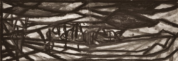 The passing #3 -9, 2014: charcoal & pastel on paper, 21x59cm