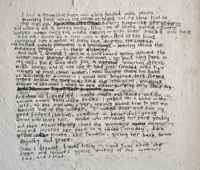 Deep Blue Sea (Code Maroon) -III: dream 26/5/2014: charcoal wall drawing