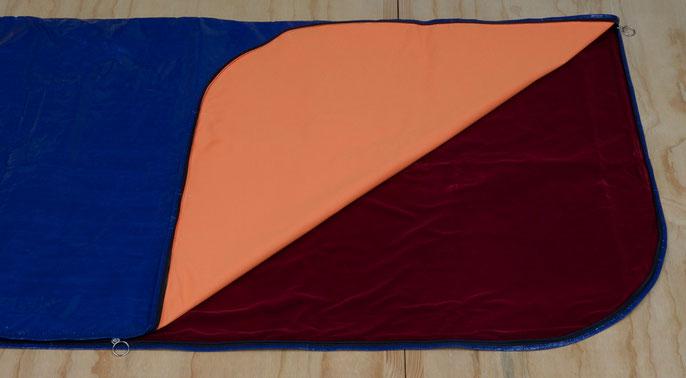 detail: Deep Blue Sea (Code Maroon) -I    Australian regulation body bag (Item BBI 2050 – Adult Blue), inserted with hi-vis  and velvet fabric, 92x240x1cm; 2014