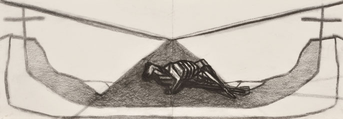 The passing #3 -4, 2014: charcoal & pastel on paper, 21x59cm