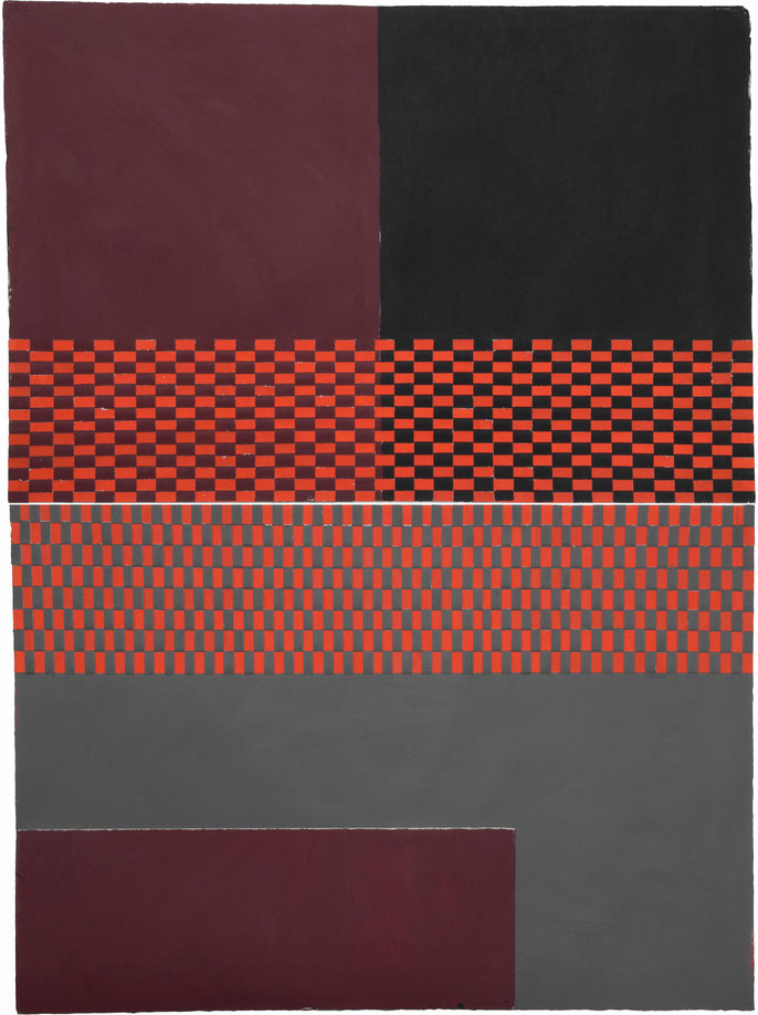 Code Maroon (unauthorized orange): acrylic and collage on paper (part woven); 150 h x 113w cm        (2 panels, each 113x75cm)