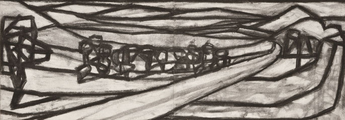 The passing #3 -5, 2014: charcoal & pastel on paper, 21x59cm