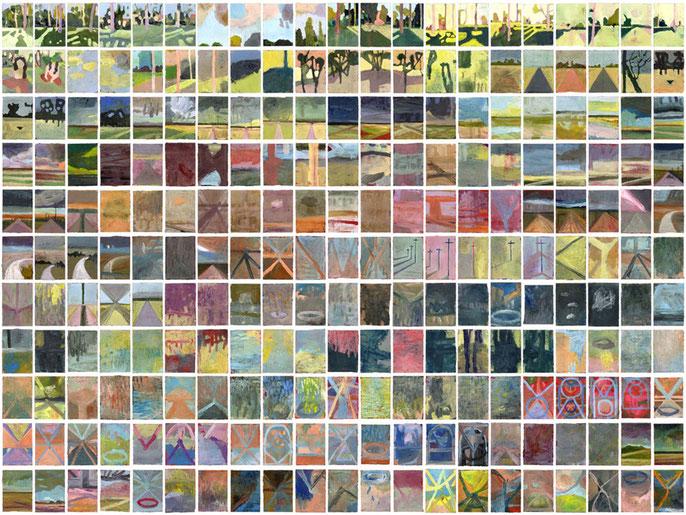 Paintings 1-231, 2006/7; gouache on paper, each 17.5 x 12.5 cm