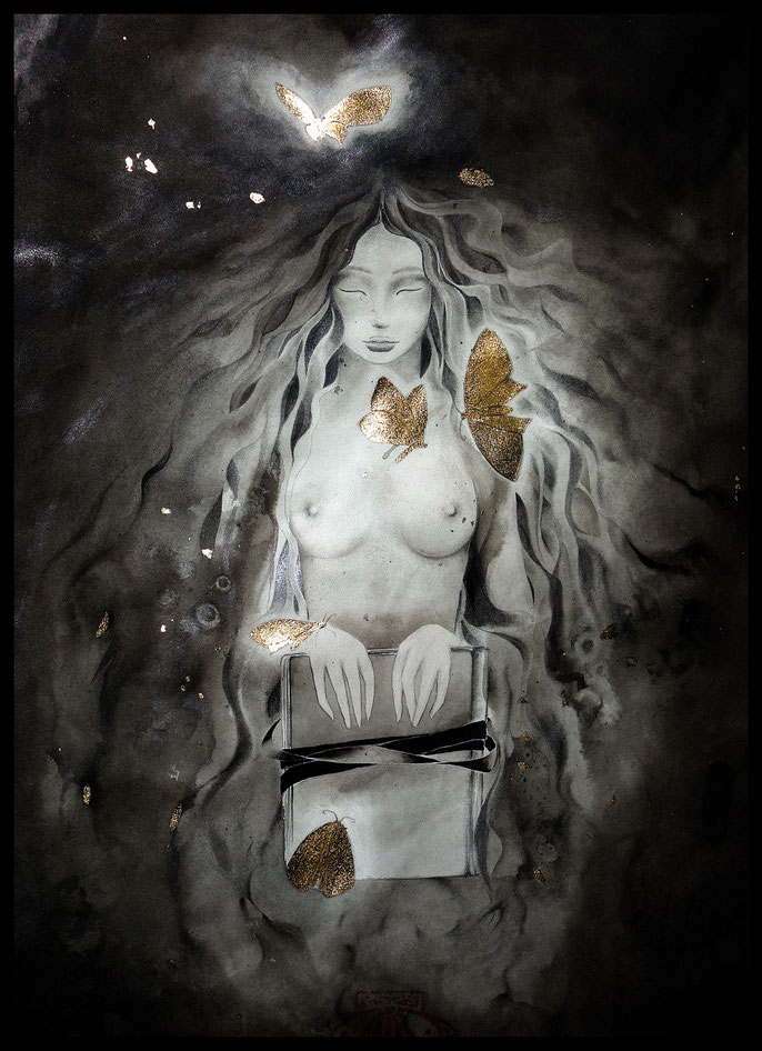 The Muse of not-teaching - atmospheric fantasy watercolor & ink paintings by sebastian rutkowski - moonlight-art