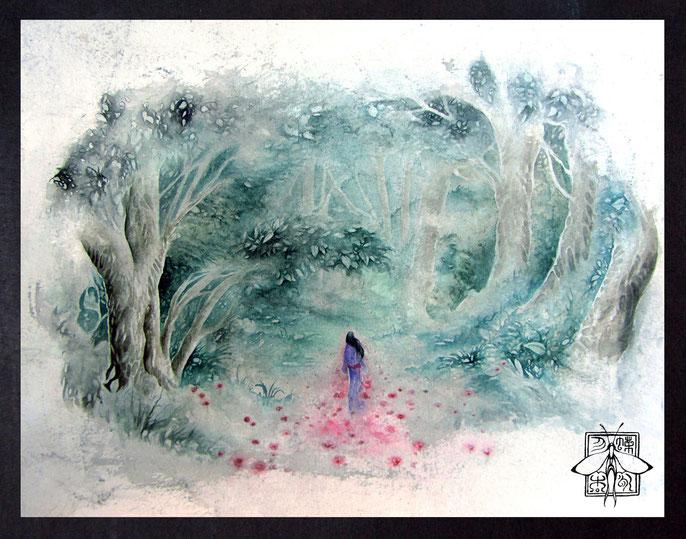 Lonesome Ghost - atmospheric fantasy paintings in watercolor & ink by sebastian rutkowski - moonlight-art