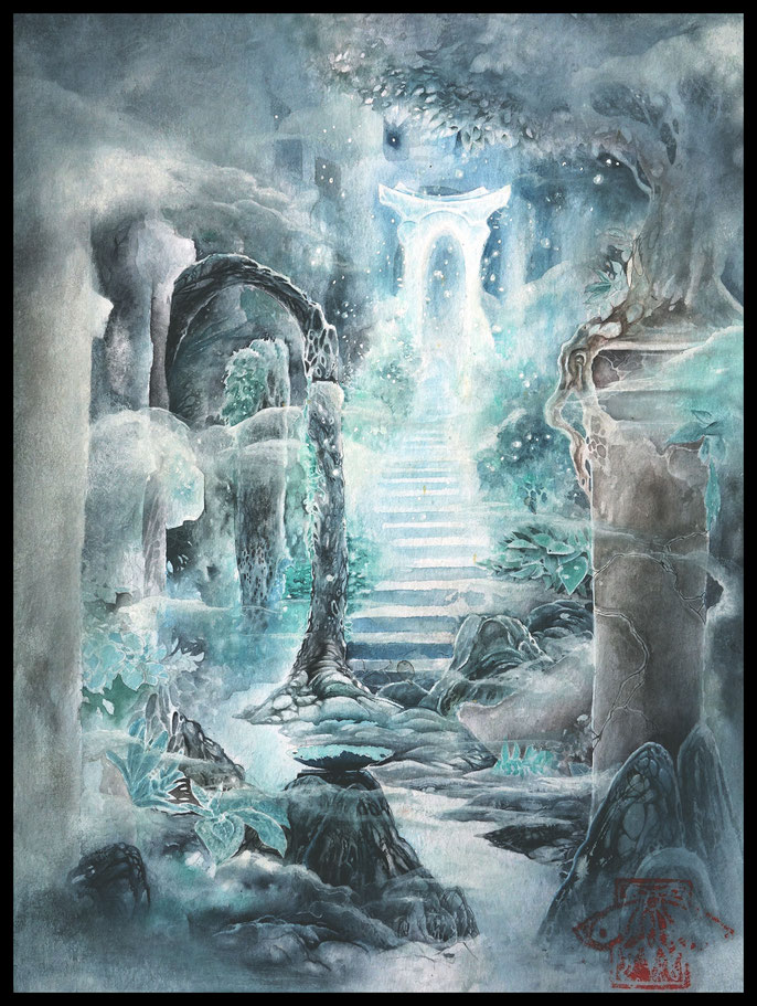 Spirit gate to the dreamworld - Atmospheric Watercolor & Ink paintings by sebastian rutkowski - moonlight-art