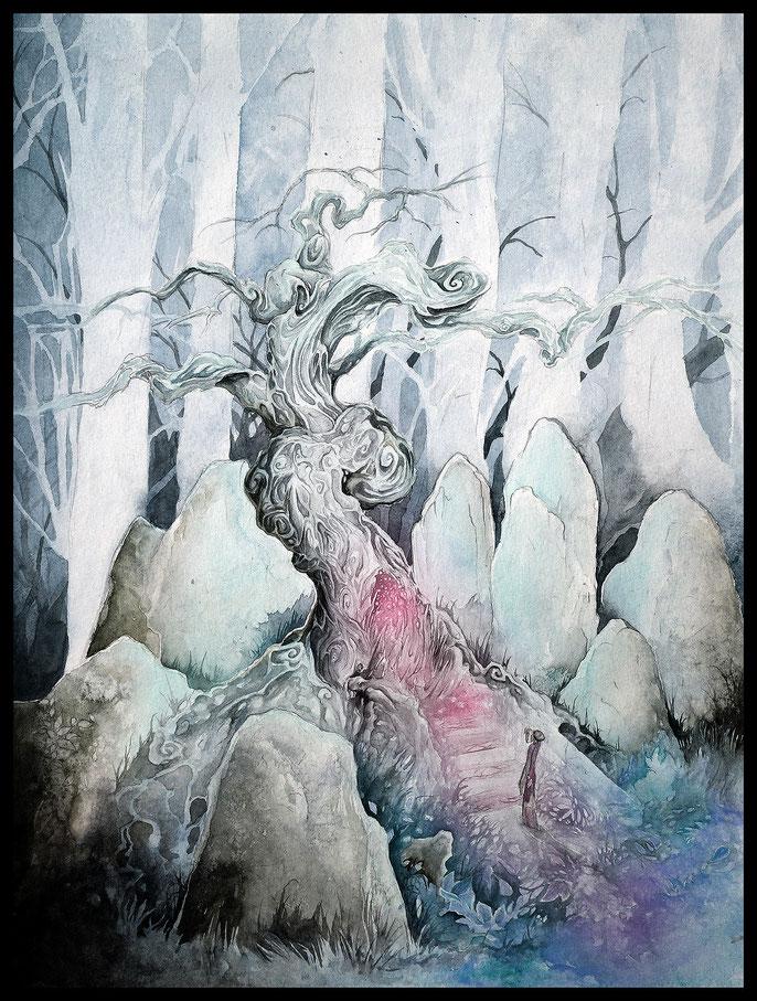 Mystic Tree - atmospheric fantasy paintings in watercolor & ink by sebastian rutkowski - moonlight-art