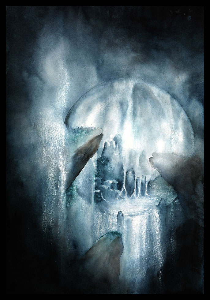 Water-Sphere Atmospheric fantasy watercolor & ink art by sebastian rutkowski - moonlight-art